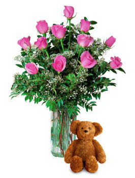 Pink Roses and Bear