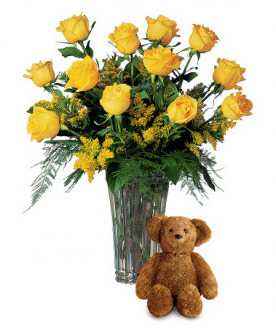 Yellow Roses and Bear