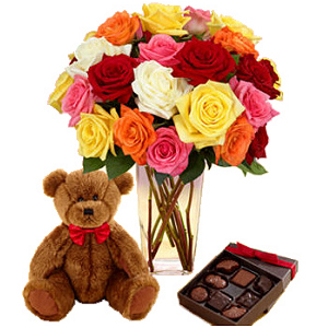 Mixed Roses with Bear and Chocolates