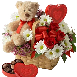 Flower Basket with Bear and Chocolates
